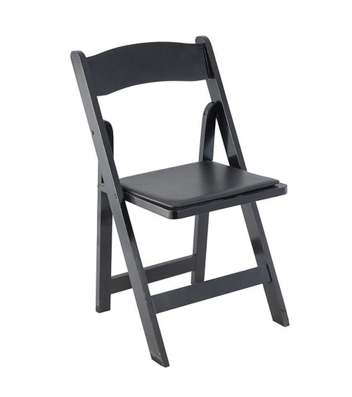 black wood padded folding chair