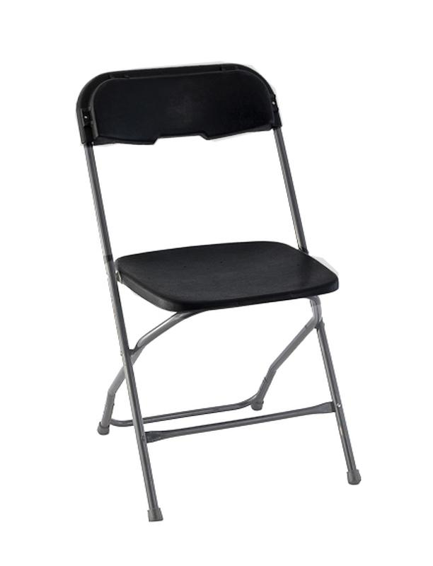 Black Plastic Black Frame Folding Chair